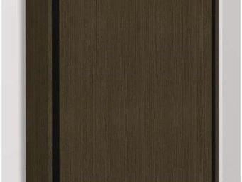 WHITE LABEL - armoire lit escamotable eos, chêne moka. matelas t - Armoire Lit
