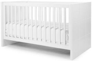 WHITE LABEL - lit b�b� �volutif 70x140cm coloris blanc design mo - Lit Pliant B�b�