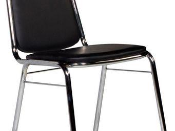 WHITE LABEL - chaise salle � manger coloris noir et acier chrom� - Chaise De Bureau