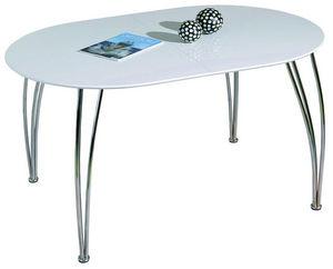 COMFORIUM - table de cuisine extensible blanc laqué et métal - Table De Repas Ovale