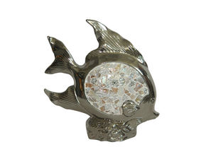 COMFORIUM - figurine design poisson argenté et pierres blanche - Statuette