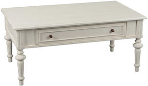 Amadeus - table basse tiroir bois crème perle - Table Basse Rectangulaire