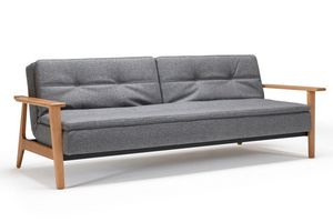 INNOVATION - canapé lit design dublexo frej tissu gris converti - Canapé Lit