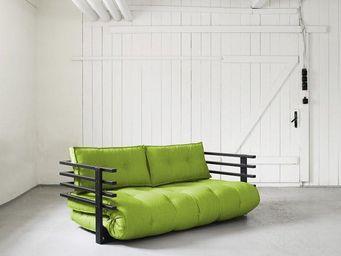 WHITE LABEL - canapé convertible noir funk futon lime couchage 1 - Lit D'appoint Gonflable