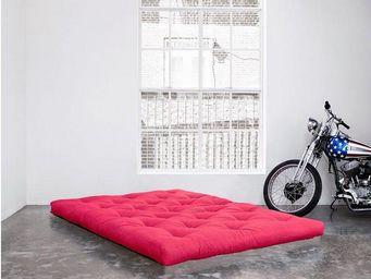 WHITE LABEL - matelas futon confort rose 160*200*15cm - Futon