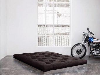 WHITE LABEL - matelas futon coco grey graphite 200*200*16cm - Futon