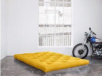 WHITE LABEL - matelas futon coco jaune 200*200*16cm - Futon