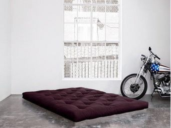 WHITE LABEL - matelas futon double latex violet 140*200*18cm - Futon