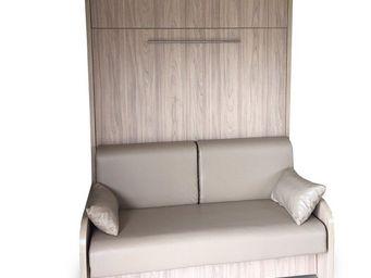 WHITE LABEL - armoire lit escamotable space sofa canapé intégré - Armoire Lit