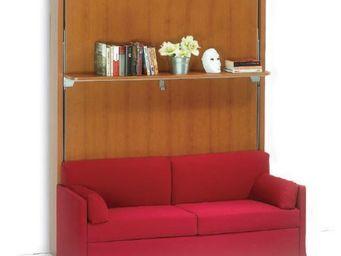 WHITE LABEL - armoire lit verticale luxury cerisier canapé intég - Armoire Lit