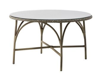 Sika design - table de jardin avec sur-plateau en verre 120cm - Table De Jardin Ronde