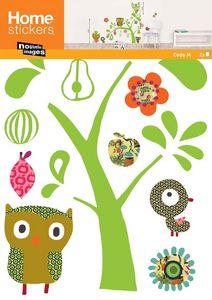 Nouvelles Images - sticker mural chat et hibou - Sticker Décor Adhésif Enfant
