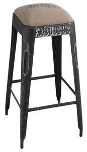 Aubry-Gaspard - tabouret de bar en métal noir vieilli - Tabouret De Bar