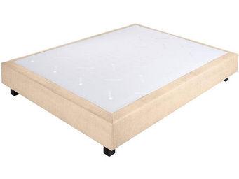 CROWN BEDDING - sommier ressorts chambly tissu beige 140x190 beige - Sommier Fixe À Ressorts
