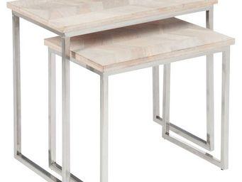 WHITE LABEL - tables gigognes bois/métal - chevy - l 61 x l 34 x - Tables Gigognes