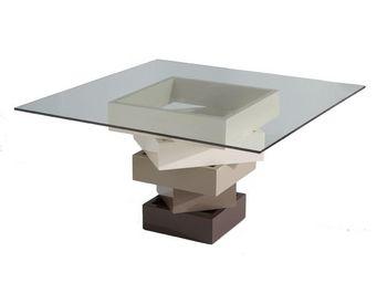 WHITE LABEL - table de repas carrée crème - kart - l 140 x l 140 - Table De Repas Carrée