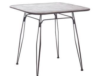 TOUSMESMEUBLES - table de compl�ment m�tal brun patin� - tweex - l - Table De Repas Carr�e