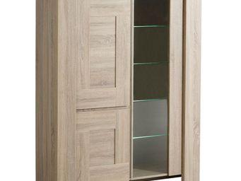 WHITE LABEL - vaisselier chêne brut - athias - l 123 x l 49 x h - Vaisselier