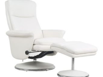 WHITE LABEL - fauteuil de relaxation simili cuir blanc - niagara - Fauteuil De Relaxation
