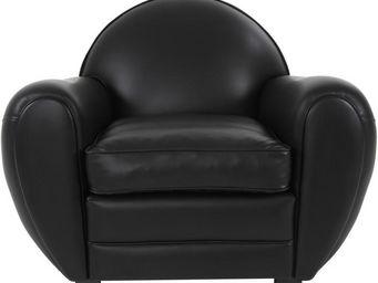 WHITE LABEL - fauteuil club cuir noir brillant - cheshire - l 91 - Fauteuil Club