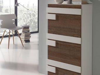 WHITE LABEL - meuble à chaussures blanc/chêne foncé - jalia - l - Meuble À Chaussures