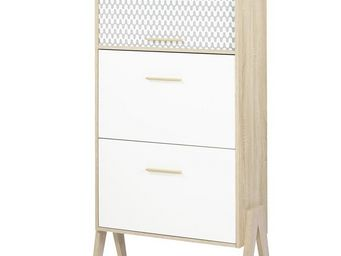 WHITE LABEL - meuble à chaussures à rideau - arkos n°4 - l 80 x - Meuble À Chaussures