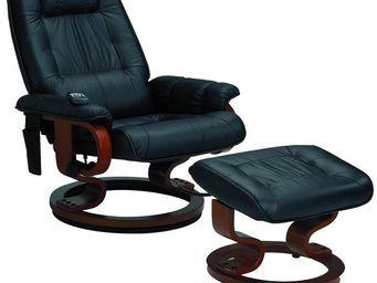 WHITE LABEL - fauteuil relax massant chauffant cuir noir - massy - Fauteuil Et Pouf