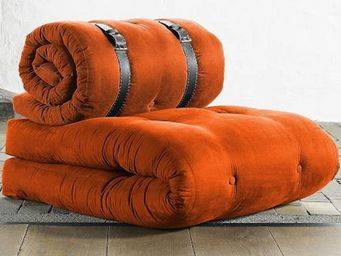 WHITE LABEL - chauffeuse buckle up futon orange couchage 70*200* - Chauffeuse