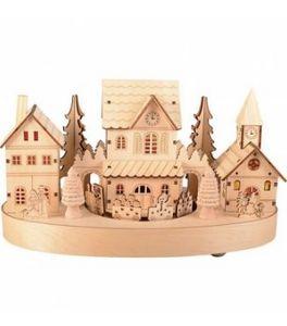 Blachere Illumination - village et train bois - Décoration De Noël