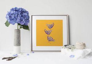 la Magie dans l'Image - print art poules orange - Poster
