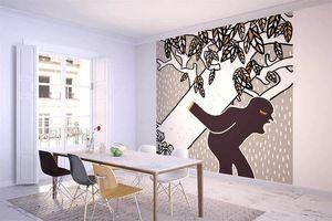 la Magie dans l'Image - grande fresque murale ogre arbre fond gris - Papier Peint Panoramique
