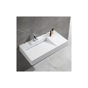 Rue du Bain - lavabo suspendu rectangulaire blanc mat, 100x50 cm - Lavabo Suspendu
