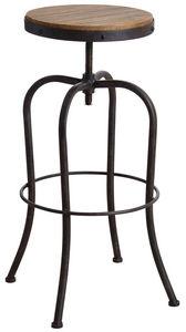 Aubry-Gaspard - tabouret haut pivotant en métal et bois - Tabouret De Bar