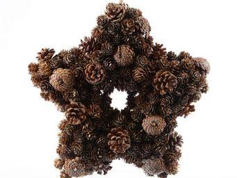 Kaemingk - couronne pomme de pin/paillette naturel - Couronne De Noël