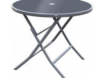 CEMONJARDIN - table ø 90 cm - gris & noir - Table De Jardin Pliante