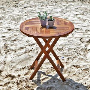 BOIS DESSUS BOIS DESSOUS - table ronde pliante en bois de teck huilé bali - Table De Jardin Pliante