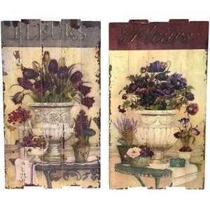 CHEMIN DE CAMPAGNE - 2 tableaux cadres en bois peints style campagne - Tableau Décoratif