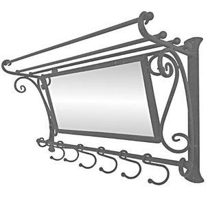 CHEMIN DE CAMPAGNE - miroir etagère porte manteau mural d'entrée en fe - Patère