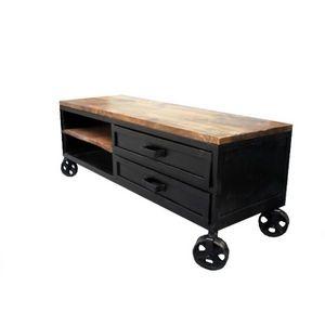 Mathi Design - meuble tv industriel 140 sur roues - Meuble Tv Hi Fi