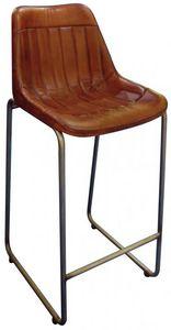 Aubry-Gaspard - tabouret de bar en cuir marron et pieds en métal - Chaise Haute De Bar