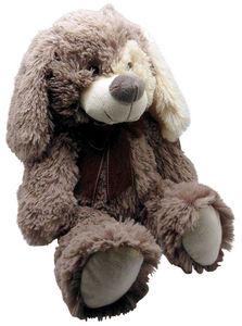 Aubry-Gaspard - peluche chien en acrylique gris 30 cm - Peluche