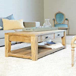 BOIS DESSUS BOIS DESSOUS - table basse en bois de teck recyclé cargo 120 rect - Table Basse Carrée