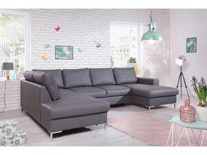 BOBOCHIC - canapé pu panoramique fixe xxl lilly gris angle gauche - Canapé Modulable