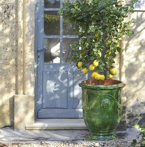 Poterie de La Madeleine - émaillé vert - Vase D'anduze
