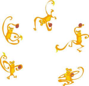 DECOLOOPIO - les 5 singes - Sticker Décor Adhésif Enfant