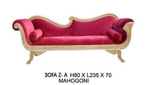 DECO PRIVE - sofa za - meridienne za en bois dore et velours ro - Canap� 3 Places