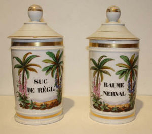 ANTIQUITES LE SAINT GEORGES - suc de r�glisse et baume nerval - Pot � Pharmacie