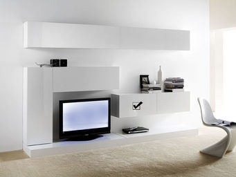 ACHATDESIGN - meuble tv mural horizontal down s blanc - Meuble De Salon Living
