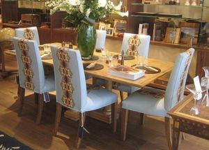 Mark Finzel Design - classic dining chairs in glass bull flow fabric - Salle À Manger