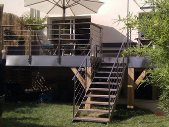 TRESCALINI - elite : escalier droit inox et bois - Escalier D'ext�rieur